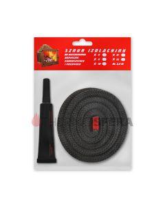 Zestaw naprawczy (czarny okrągły sznur 500°C + klej termiczny)